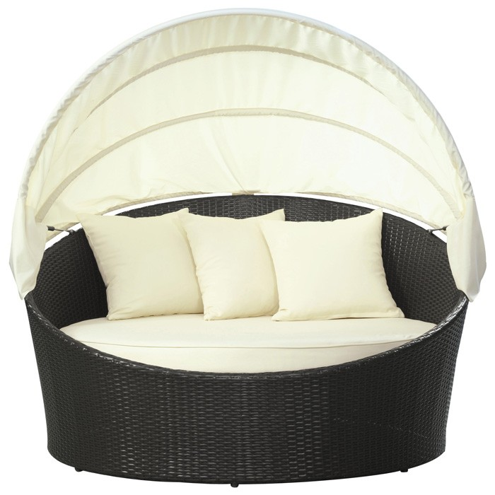 Siesta Outdoor Rattan Canopy Bed - EEI-642-EXP-WHI