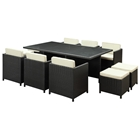 Miyagi Espresso Outdoor Dining Set with White Cushions