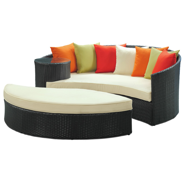 Taiji Outdoor Daybed Set - Espresso Frame, Multicolored Cushions - EEI-645-EXP-MUL