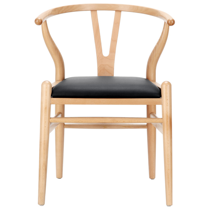 Amish Wishbone ''Y'' Chair - Natural Frame, Black Seat