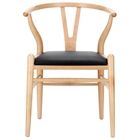 Amish Wishbone %27%27Y%27%27 Chair - Natural Frame, Black Seat