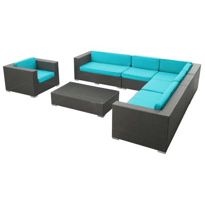 Palm Outdoor Sectional Sofa Set - Espresso Frame - EEI-654-EXP