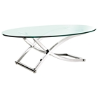 Criss Cross Oval Glass Coffee Table