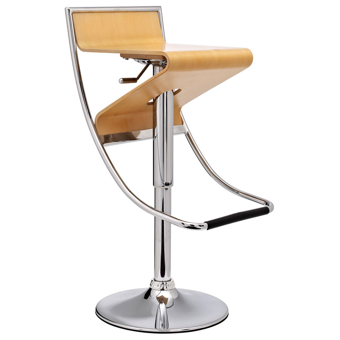 Zig Zag Adjustable Height Bar Stool - Chrome Base, Natural Seat - EEI-693-NAT