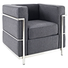 LC2 Wool Armchair - Stainless Steel, Dark Gray