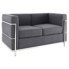 LC2 Wool Loveseat - Stainless Steel, Dark Gray