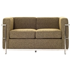 LC2 Wool Loveseat - Stainless Steel, Oatmeal