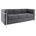 LC2 Wool Sofa - Stainless Steel, Dark Gray