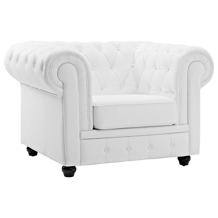 Chesterfield Leather Armchair - Button Tufts, Bun Feet, White