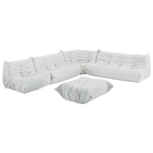 Downlow 5 Piece Sectional Sofa Set - White Leatherette