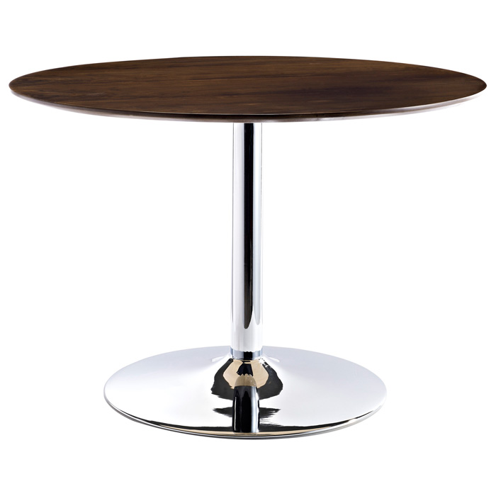 Rostrum Round Dining Table - Chrome Steel Base, Walnut Top - EEI-784-WAL
