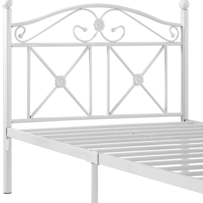 Cottage Twin Iron Bed - Ball Finials, Floral Castings, White - EEI-799