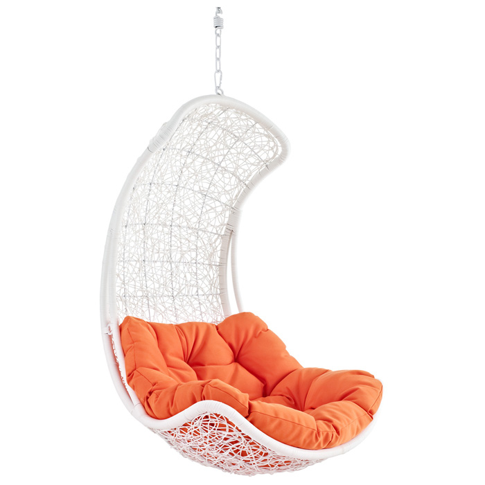 Endow Hanging Rattan Chair - White Frame, Orange Cushion