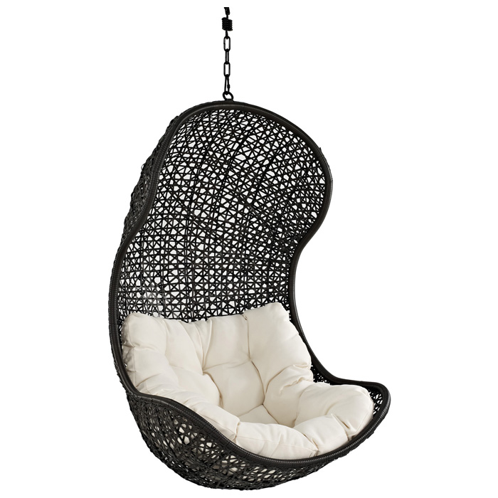 Parlay Hanging Rattan Chair - Espresso Frame, White Cushion