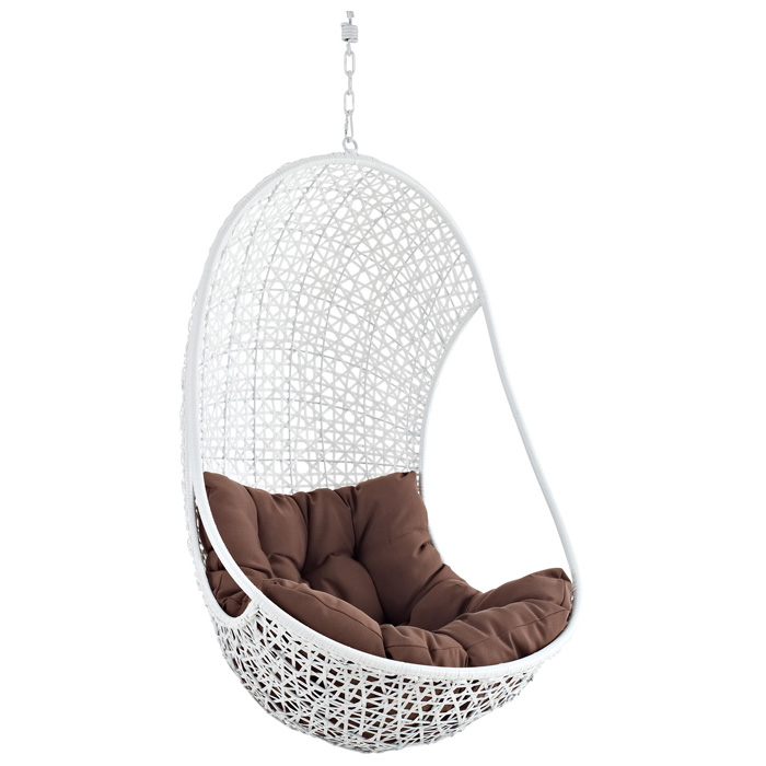 Bestow Hanging Rattan Chair - White Frame, Brown Cushion - EEI-807-SET