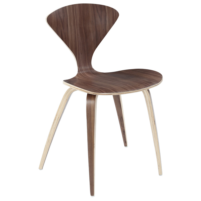 Vortex Molded Plywood Stackable Chair - Dark Walnut