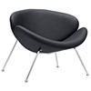 Nutshell Upholstered Lounge Chair - Chrome Steel Legs, Black