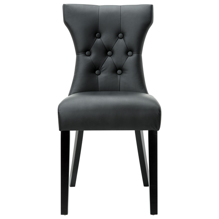Silhouette Button Tufted Dining Chair - Wood Legs, Black
