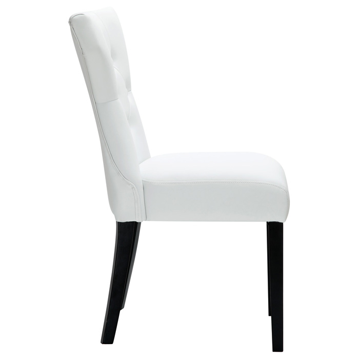 Silhouette Button Tufted Dining Chair - Wood Legs, White - EEI-812-WHI