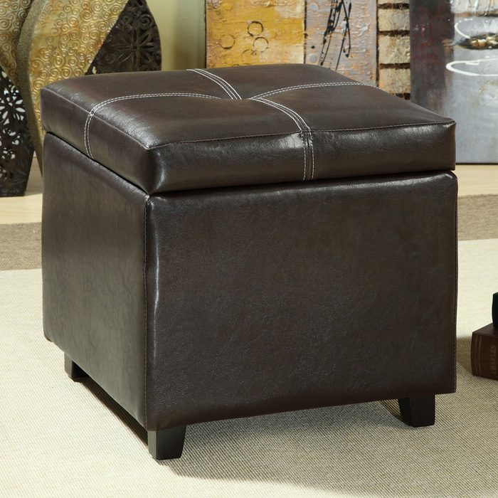 Treasure Upholstered Storage Ottoman - Wood Legs, Brown