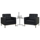 Loft Sitting Room Set - Eileen Gray Table, Leather Chairs, Black