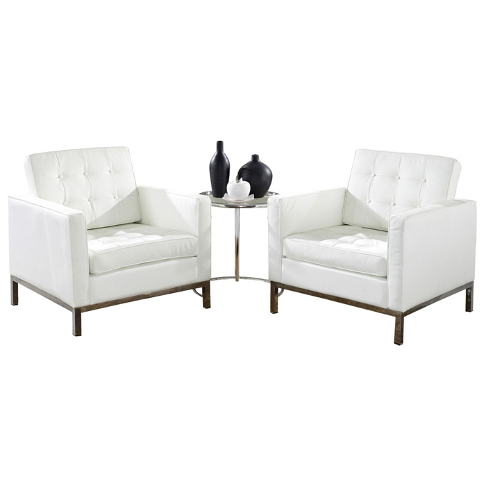 Loft Sitting Room Set - Eileen Gray Table, Leather Chairs, White - EEI-859-WHI