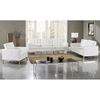 Loft 5 Piece Leather Living Room Set - Stainless Steel, White