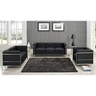 LC2 Petit Confort 4 Piece Leather Sofa Set - Black