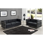 LC2 Petit Confort Sofa, Loveseat, & Side Table Set - Black
