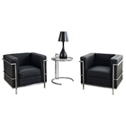 LC2 Petit Confort Leather Armchairs & Side Table Set - Black