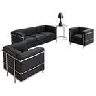 LC2 Petit Confort Leather Sofa & Armchairs Set - Black