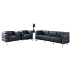 LC3 Grande Leather Sofa & Armchairs Set - Black