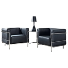 LC3 Grande Leather Armchairs & Side Table Set - Black