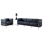 LC3 Grande Leather Sofa, Chair, & Side Table Set - Black