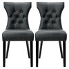 Silhouette Faux Leather Dining Chairs - Button Tufted, Black (Set of 2)
