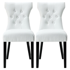 Silhouette Faux Leather Dining Chairs - Button Tufted, White (Set of 2)