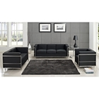 LC2 Petit Confort 3 Piece Leather Sofa Set - Black