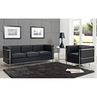 LC2 Petit Confort Leather Sofa, Chair, & Side Table Set - Black