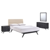 Addison 4 Pieces Queen Bedroom Set - Black, Beige