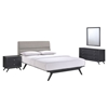 Addison 4 Pieces Queen Bedroom Set - Black, Gray