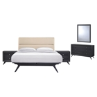 Addison 5 Pieces Queen Bedroom Set - Beige, Black