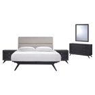 Addison 5 Pieces Queen Bedroom Set - Gray, Black
