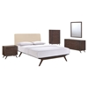 Tracy 5 Pieces Queen Bedroom Set - Cappuccino, Beige