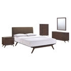 Tracy 5 Pieces Queen Bedroom Set - Cappuccino, Brown