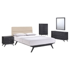 Addison 5 Pieces Queen Bedroom Set - Black, Beige