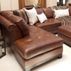 Corsario Leather Sectional with Left Facing Chaise and Ottoman