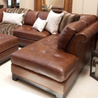 Corsario Leather Sectional with Right Facing Chaise and Ottoman
