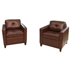 Carlton 2 Pieces Top Grain Leather Accent Chairs - Raisin