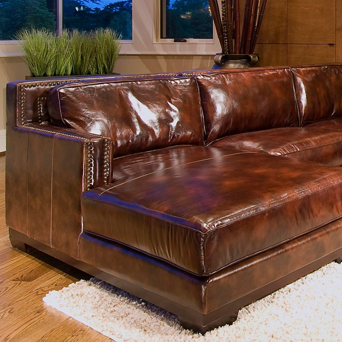 Davis Saddle Brown Leather Sectional with Left Facing Chaise