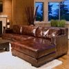 Davis Leather Chair and Sectional Set with Right Facing Chaise